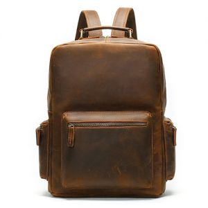 Men's Brown Crazy Horse Cow Leather Large Capacity Backpack