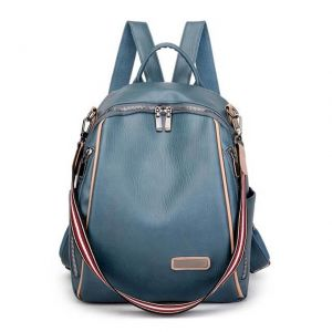 Women's soft leather large capacity school backpack